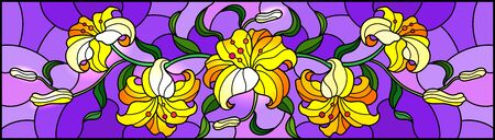 llustration in stained glass style with flowers, leaves and buds of yellow lilies on a purple background