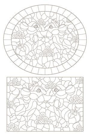 Set of contour illustrations of stained glass Windows with mice on a background of stars, dark outlines on a white background  イラスト・ベクター素材