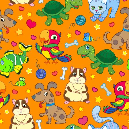 Seamless pattern with cute cartoon home Pets, bright funny animals on an orange background