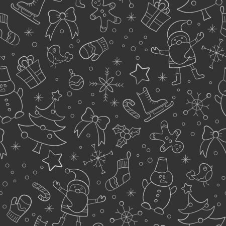 Seamless pattern on the theme of New year and Christmas, simple hand-drawn contour light icons on a dark background Çizim