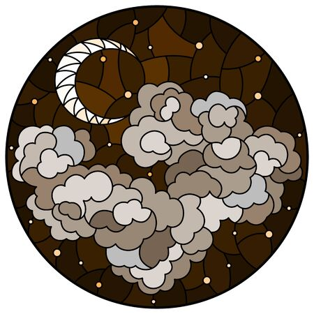 Illustration in stained glass style with celestial landscape, fluffy cloud on the background of starry sky and moon, round image, tone brown sepia