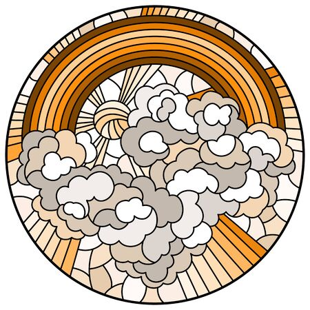 Illustration in stained glass style with celestial landscape, sun and clouds on rainbow background, round image, tone brown sepia