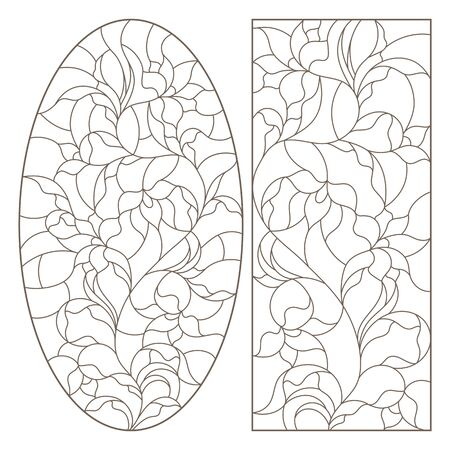 Set of contour illustrations with stained glass flower arrangements, Lily flowers, dark outlines on a white background