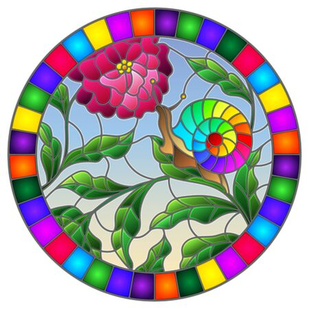 Illustration in stained glass style snail and flower  mushroom , on the background branches with leaves , grass and sky,oval image in bright frame Ilustração