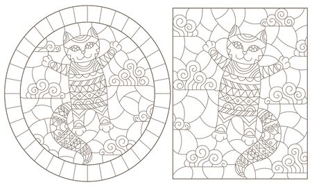 Set of contour illustrations of stained glass Windows with cute cartoon cats on a cloud background, dark contours on a white background Ilustração