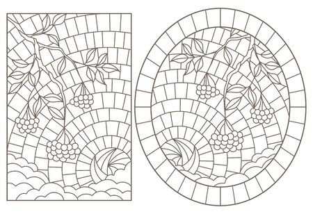 Set of contour illustrations with stained glass, Rowan branches against the sky, dark outlines on a white background