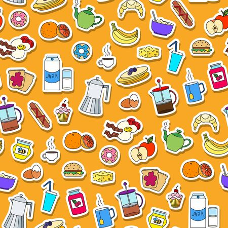 Seamless pattern on Breakfast and food theme, simple color sticker icons on an orange background