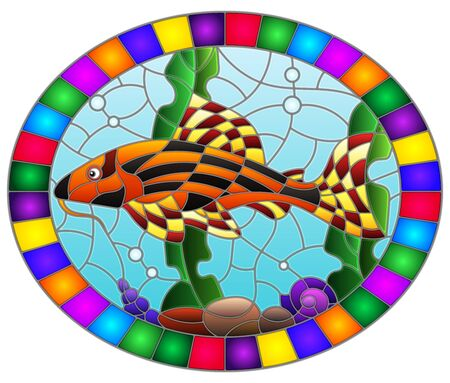 Illustration in stained glass style with a catfish on the background of water and algae, oval image in bright frame