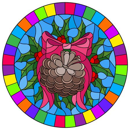 Illustration in stained glass style for New year and Christmas, pine cone, Holly branches and ribbons on a blue background, round imagein a bright frame