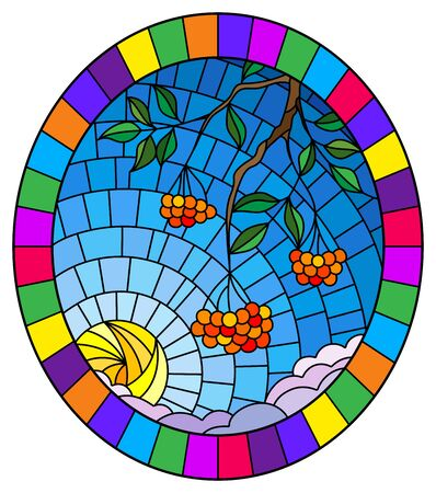 Illustration in stained glass style with a branch of mountain ash, clusters of berries and leaves against the sky with sun and clouds , oval image in bright frame