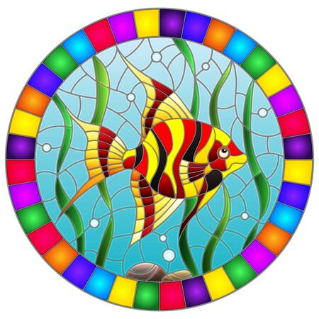 Illustration in stained glass style bright fish scalar on the background of water and algae, oval image in bright frame