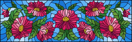 Illustration in stained glass style with floral arrangement of flowers, pink flowers and leaves on a blue background