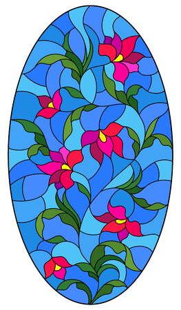 Illustration in stained glass style with a pink Lily flower on a blue background, oval image