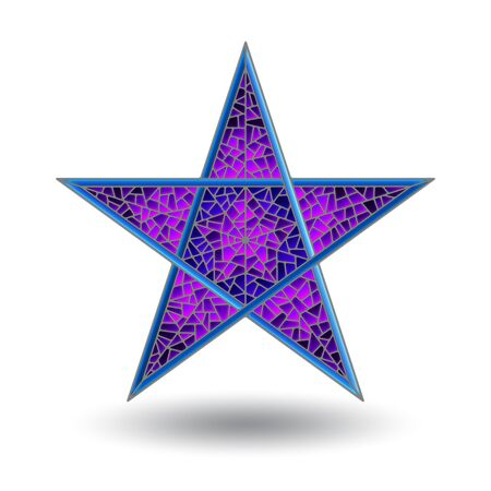 Illustration with abstract five-pointed blue stained-glass star, isolated on white background