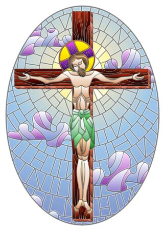 Illustration in stained glass style on the biblical theme, Jesus Christ on the cross against the cloudy sky and the sun, oval image  Ilustração