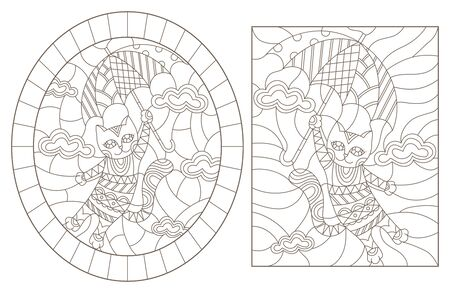 Set contour illustrations of stained glass with funny cats, dark contour on white background