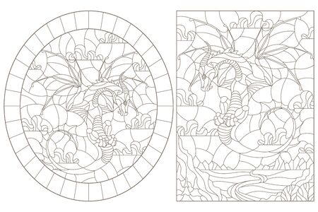 Set of contour illustrations in stained glass style with flying dragons on the background of landscapes and sky, dark contours on a white background
