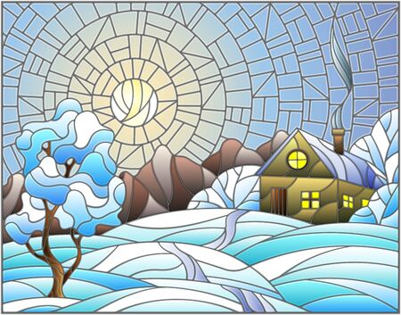 Illustration in stained glass style landscape with a lonely house amid snow,sun and sky  イラスト・ベクター素材