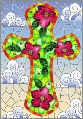 Illustration in stained glass style with Christian cross decorated with  pink flowers on blue sky background with clouds  Stock Illustratie