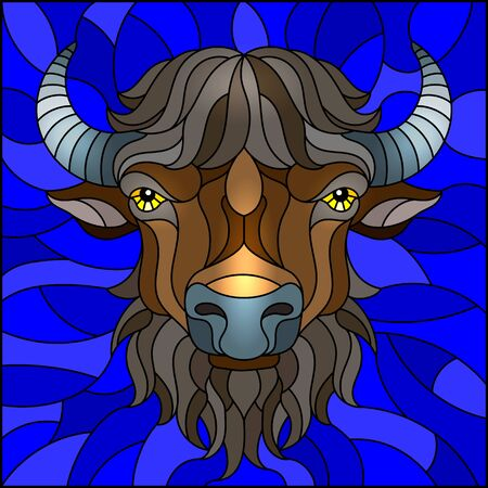 Illustration in stained glass style with bison head on blue background