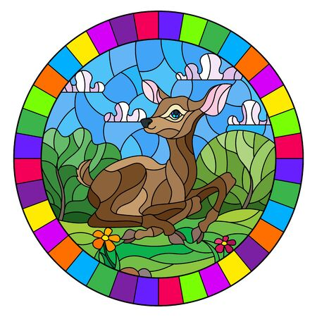 Illustration in stained glass style with a fawn on the background of green meadows, flowers and cloudy sky, round image in bright frame