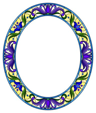 Illustration in stained glass style flower frame, bright blue flowers and  leaves in  frame on a white background, oval image Ilustração
