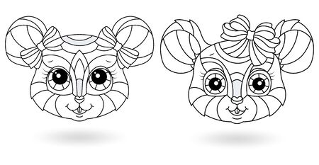 Set of contour stained glass illustrations with heads of funny cartoon mice isolated on white background