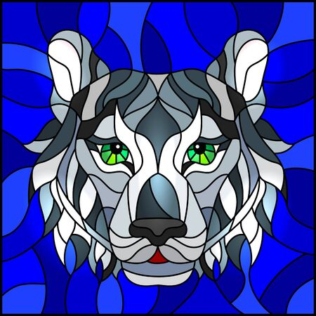 The illustration in stained glass style painting with a white tigers head on a blue background