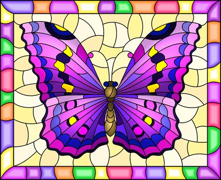 Illustration in stained glass style with bright purple butterfly on a yellow background in a bright frame