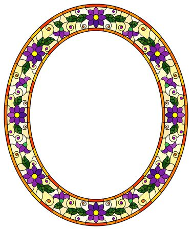 Illustration in stained glass style flower frame, bright purple flowers and  leaves in yellow frame on a white background, oval image Ilustração