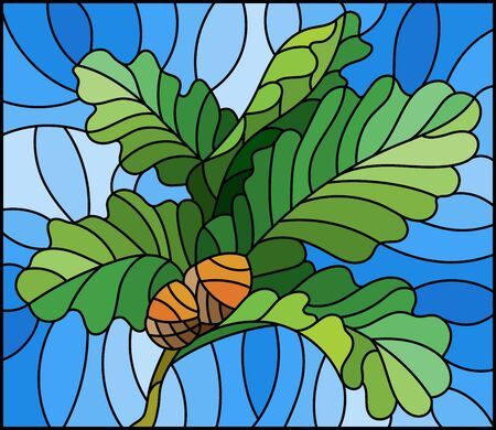 The illustration in stained glass style painting with a branch of oak leaves and acorns on a blue background