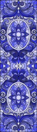 Illustration in stained glass style with abstract flowers, swirls and leaves  on a light background,horizontal orientation, blue tone