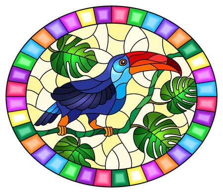 Illustration in stained glass style with bird Toucan on branch tropical tree against the sky, oval image in bright frame