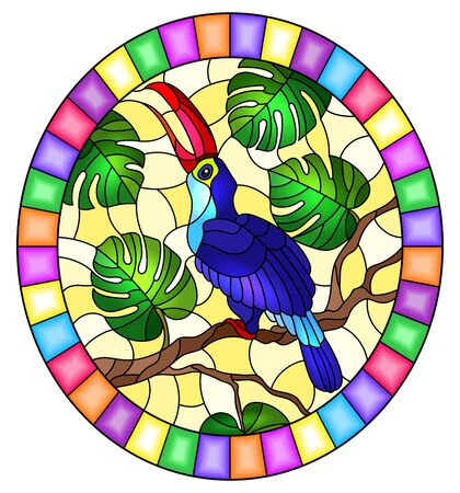 Illustration in stained glass style with abstract blue bird Toucan on branch tropical tree against on a yellow background, oval image in bright frame
