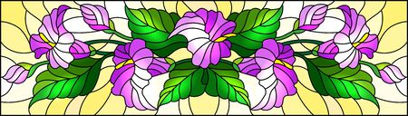Illustration in stained glass style with a floral arrangement of Calla flowers, purple Calla and leaves on a yellow background Ilustração
