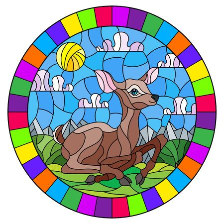 Illustration in stained glass style with a fawn on the background of green meadows and cloudy sky, round image in bright frame