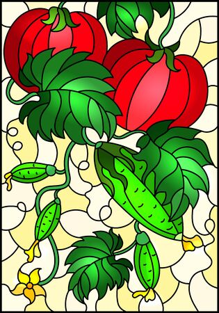 Illustration in stained glass style with vegetable composition, ripe tomatoes, cucumbers and leaves on a yellow background Ilustração