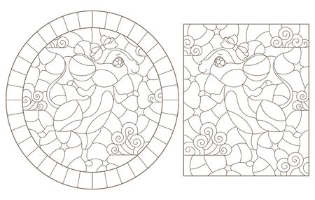 Set of contour illustrations of stained glass Windows with mice on a background of stars, dark outlines on a white background Ilustração