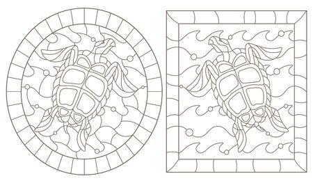 Set of outline illustrations in the style of stained glass with sea turtles into the waves, a dark outline on a white background Ilustração