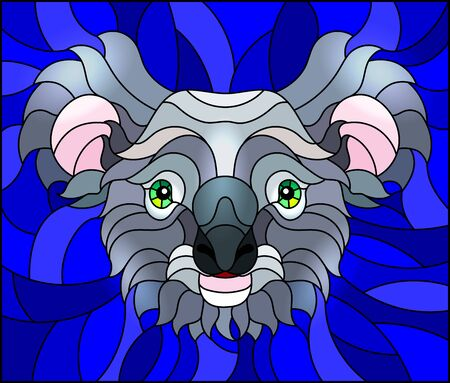The illustration in stained glass style painting with a koala bear head , on bue background, square image Ilustrace