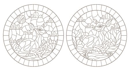 Set of contour illustrations of stained glass Windows with fawns on the background of landscapes, dark contours on a white background