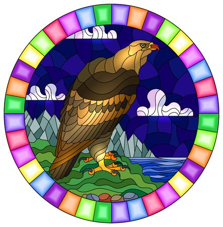 Illustration in stained glass style with abstract eagle on landscape background with mountains, sea and sky, oval image in bright frame