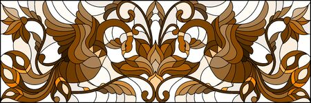 Illustration in stained glass style with abstract birds and flowers on a light background , horizontal image, tone brown