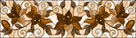 llustration in stained glass style with flowers, leaves and buds of lilies on a beige background, tone brown, sepia Ilustrace