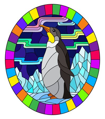 Illustration in stained glass style with a  penguin on a background of snow, moon and Northern lights, oval image in bright frame