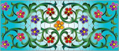 Illustration in stained glass style with abstract  swirls,flowers and leaves  on a blue background,horizontal orientation
