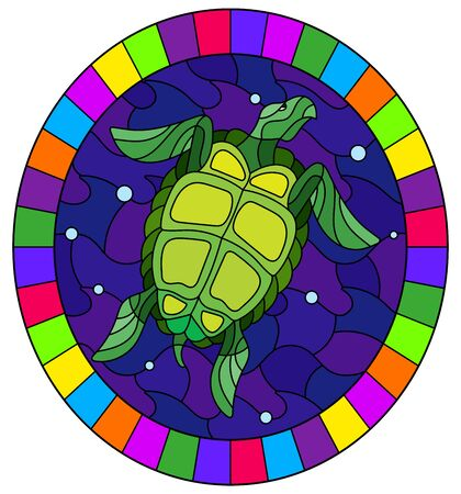 Illustration in stained glass style with green  sea turtle on a background of sea waves and air bubbles, oval image in a bright frame Ilustração
