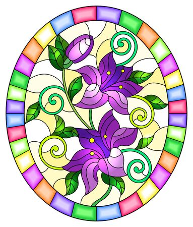 Illustration in stained glass style with flowers and leaves  of lilies on a yellow background, oval image in bright frame