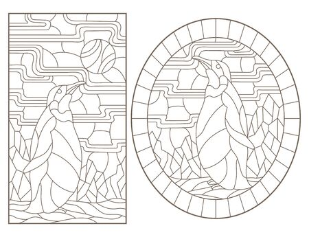 Set of outline illustrations of stained glass Windows with penguins, dark outlines on white background