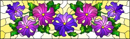 Illustration in stained glass style with floral arrangement of flowers, purple flowers and leaves on a yellow background Ilustração